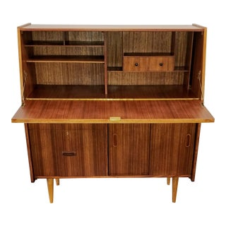 Ellman Mid-Century Modern Tola Wood Bureau With Smile Pulls, Locking Desk and File Cabinet For Sale