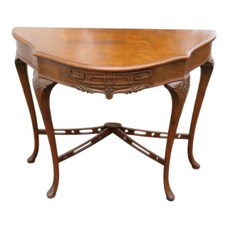 Walnut Carved Queen Anne Feet Console Table 2376 For Sale