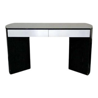 Contemporary Modern Black Wood Granite Topped Console Table Credenza 1980s For Sale