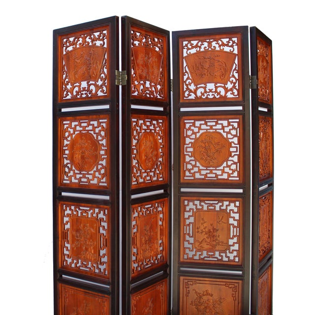 Brown Chinese Scenery Carving 2 Brown Tone Wood Panel Floor Screen Display Shelf For Sale - Image 8 of 10