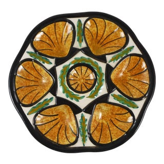 1950s French Country Saint Jean De Bretagne Faience Oyster Plate For Sale