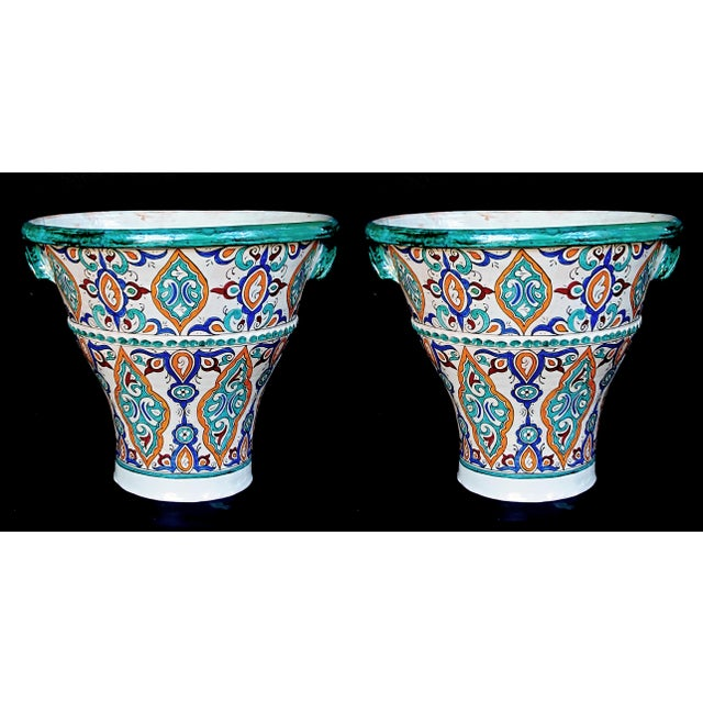 1980s A Large and Vibrantly Glazed Pair of Moroccan Conical-Form Double-Handled Pots; Purchase in Fez, Morocco For Sale - Image 5 of 5