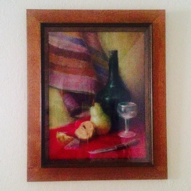 """Vintage oil pastel still life painting of wine and fruit signed """"Howard W"""". Very nice piece. Measurements approximate."""