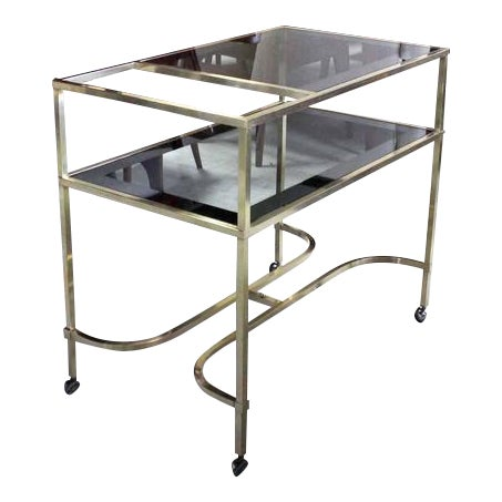 Nice Solid Brass Profile Serving Cart For Sale