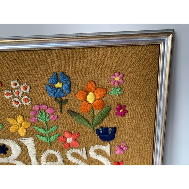 Metal 1960s Hippie God Bless Our Pad Framed Crewelwork For Sale - Image 7 of 9