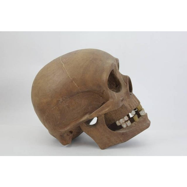 Primitive Early 20th C. Vintage Hand-Carved Wooden Skull For Sale - Image 3 of 6