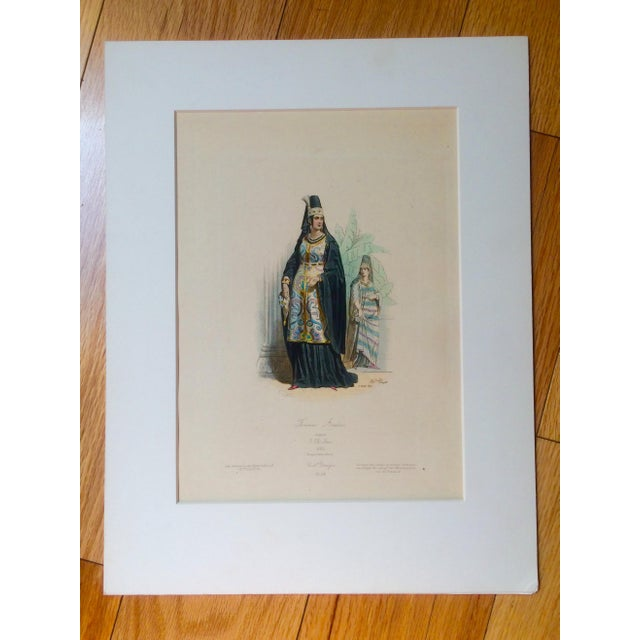 """19th Century Century Antique French Original Engraving Historic Fashion Plate, Hand-Tinted - """"Femmes Arabes."""" For Sale - Image 11 of 11"""