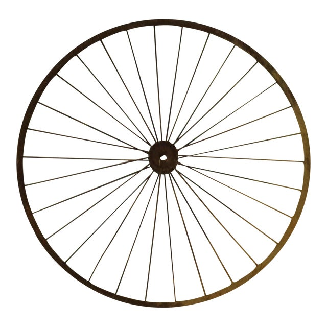 Antique Wire Spoke Bicycle Wheel - Image 1 of 5