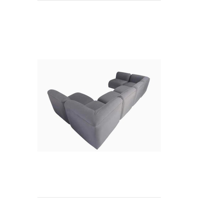 Incredible Milo Baughman Gray Upholstered Sectional Sofa For