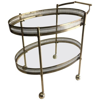 Elegant Two-Tier Brass Oval Bar Cart For Sale