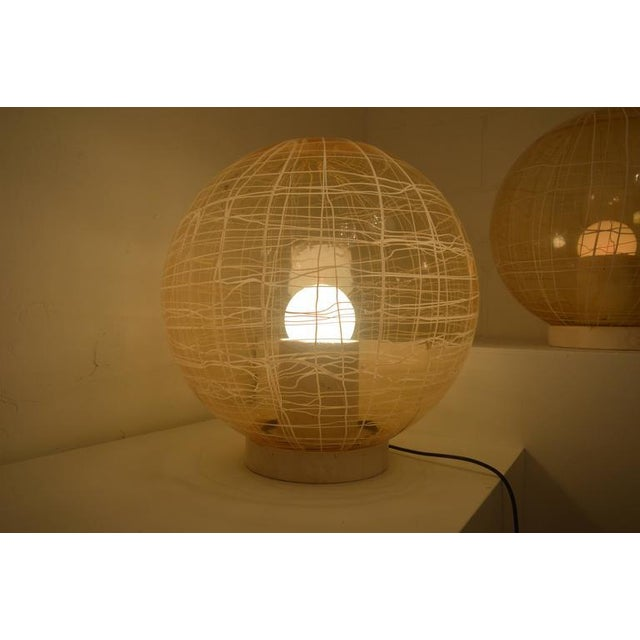 Pair of Large Murano Floor Lamps by La Murina on a Travertine Base - Image 6 of 10