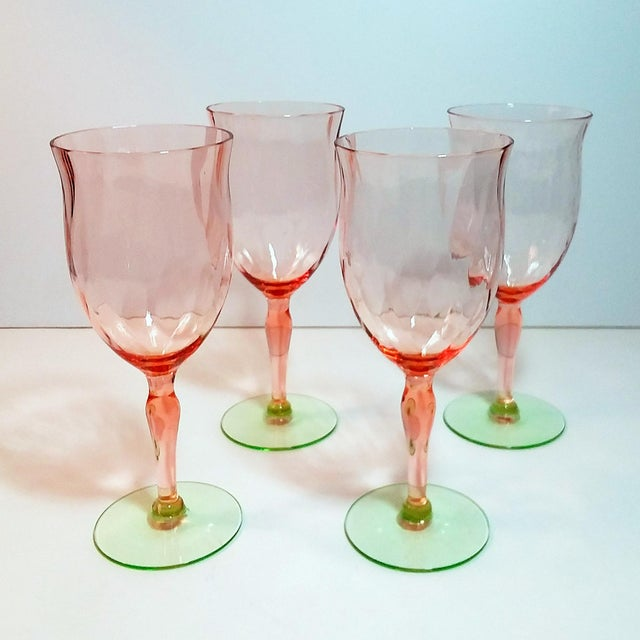1930s Pink & Green Weston Diamond Optic Goblets - Set of 4 For Sale - Image 5 of 5