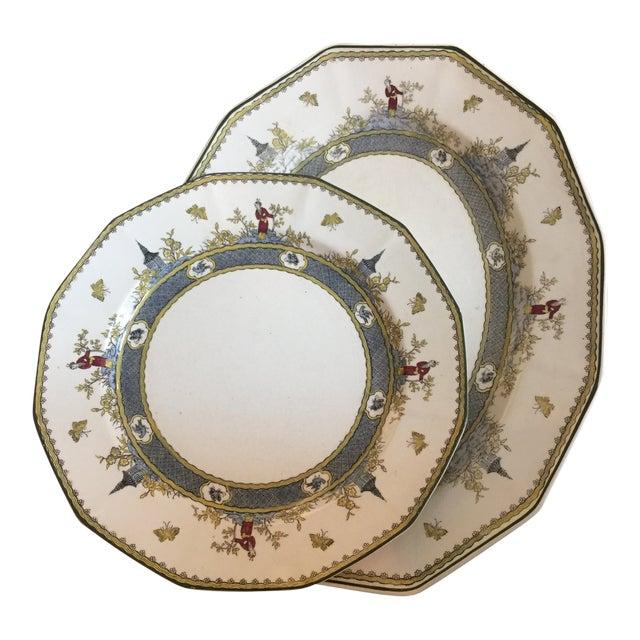 "Royal Doulton Chinoiserie ""Mandarin"" Pattern Platter and Dinner Plate Set - 2 Pc. For Sale"