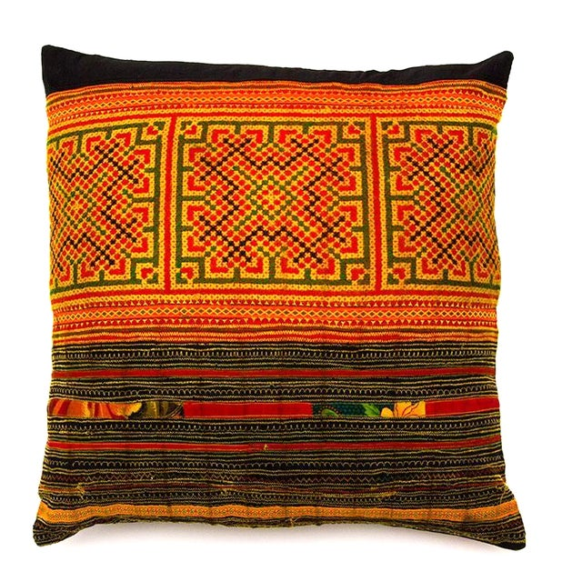 Hill Tribe Pillow - Handmade in Thailand Yellow - Image 1 of 4