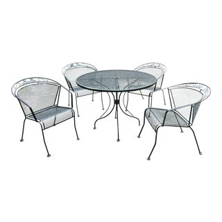 Vintage Mid-Century Modern Wrought Iron Dining Set - 5 Pieces For Sale