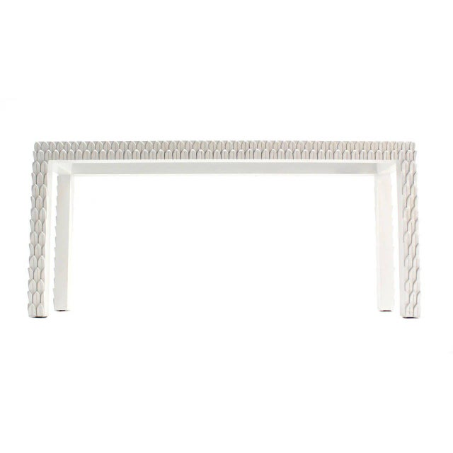 Vintage Mid Century Pineapple Pattern Carved White Lacquer Console Table For Sale - Image 4 of 10