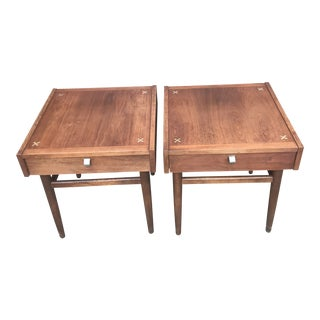 Vintage American of Martinsville Nightstands With Aluminum Inlays-a Pair For Sale