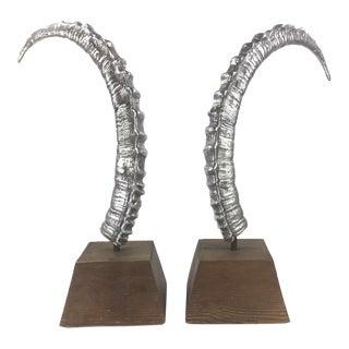 Vintage Large Mid Century Arthur Court Aluminum Horn Sculptures - a Pair