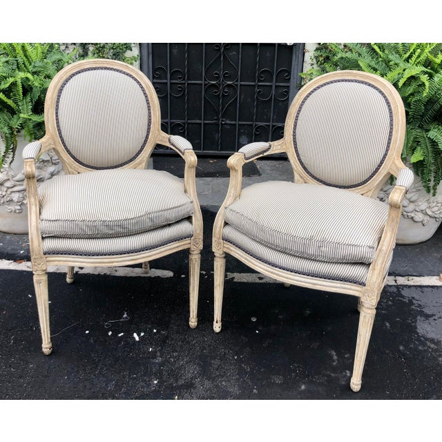 Pair of Louis XV Style Balloon Back Arm Chairs W Silk Down Cushions For Sale In Los Angeles - Image 6 of 6