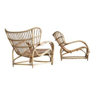 Viggo Boesen for E.V.A. Nissen Model VB 136 Rattan Lounge Chairs - A Pair