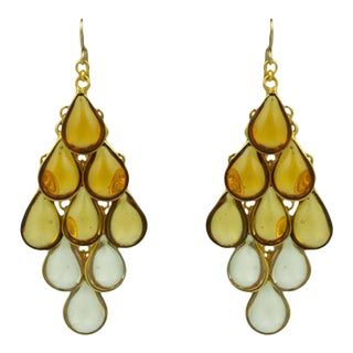 Mwlc Collection Citrine Ombre Drop Poured Glass Earrings For Sale