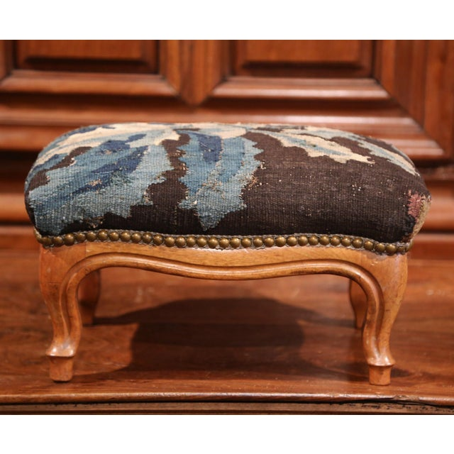 Fruitwood 19th Century French Carved Walnut Footstool with 18th Century Aubusson Tapestry For Sale - Image 7 of 9