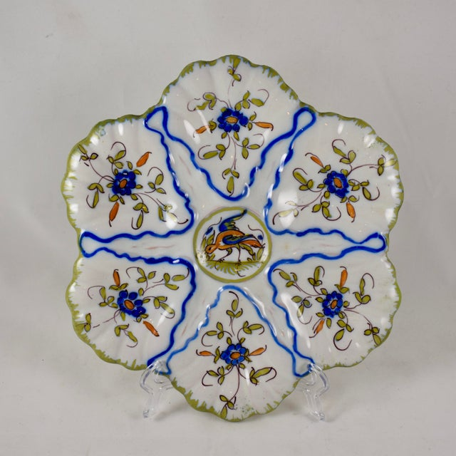 Martres-Tolosane Moustier Floral Oyster Plate – Left Facing Bird For Sale - Image 9 of 9