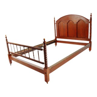 Antique Mahogany Jenny Lind Style Full Size Spool Spindle Bed For Sale