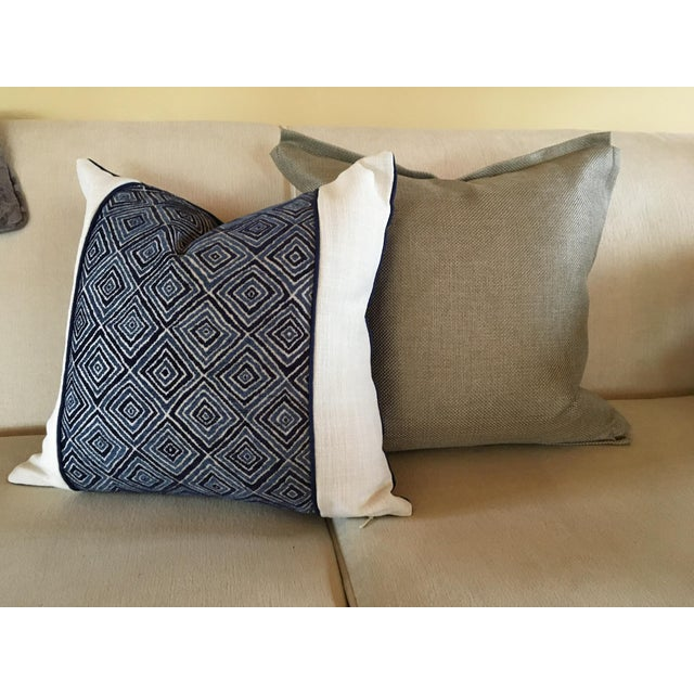 Fabric Robert Allen Blue & White Geometric Fabric Accent Pillow Covers - A Pair For Sale - Image 7 of 11