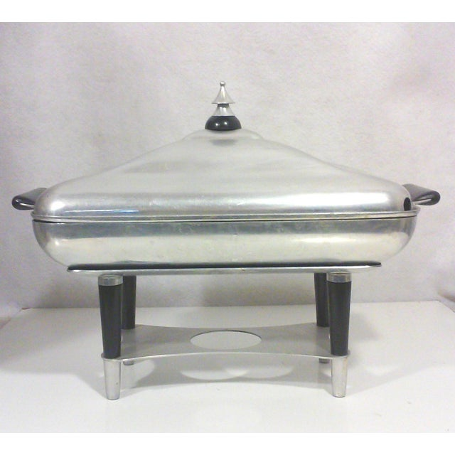 Machine Age Deco aluminum chafing dish with striking lines reminiscent of the Jetsons and the early Post War Industrial...