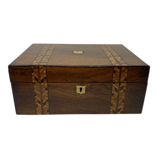 Banded 19th Century English Walnut Box For Sale