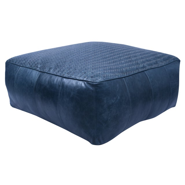 Leather Upholstered Woven Floor Pouf For Sale - Image 4 of 4