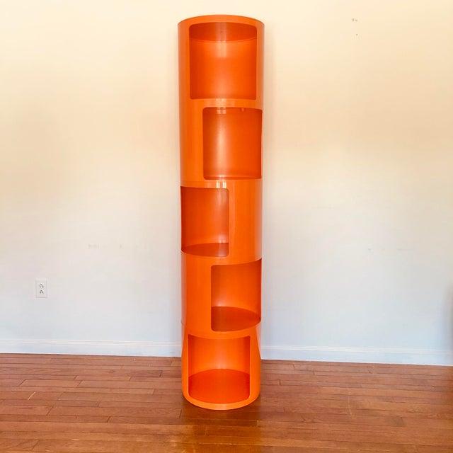1960s 1960s Kartell Space Age Orange Plastic Modular Shelving Unit For Sale - Image 5 of 5