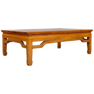 Chinese Ming Dynasty Style Natural Wood Coffee Table With Humpback Stretcher For Sale