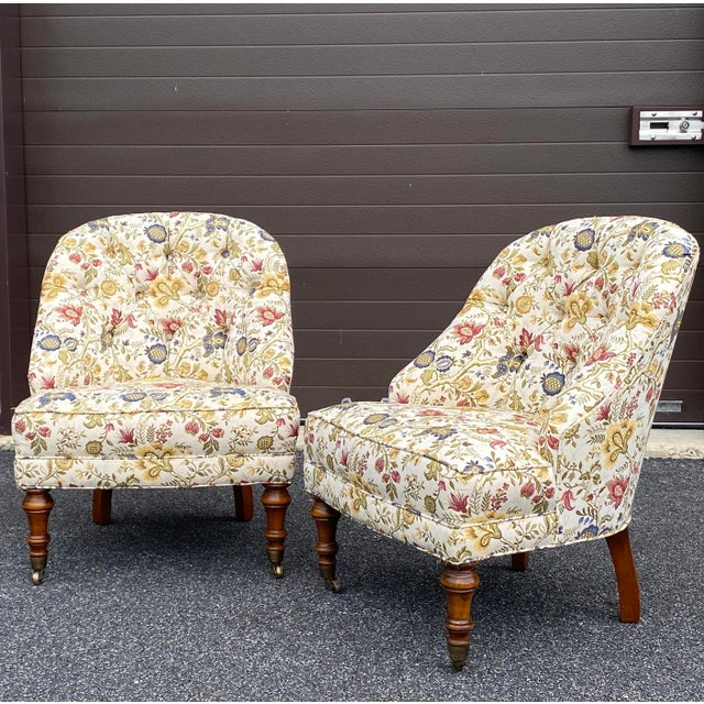 Tufted Floral Slipper Chairs - a Pair For Sale - Image 13 of 13