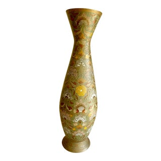 Boho Vintage Tall Etched Metal Vase For Sale