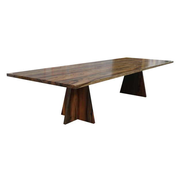 Brown Costantini Solid Argentine Rosewood Twin Pedestal Luca Table For Sale - Image 8 of 8
