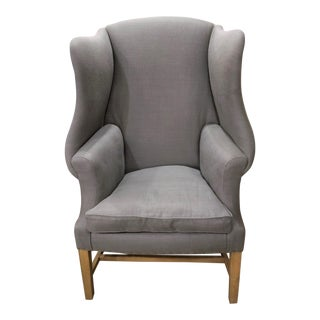Restoration Hardware 1920s Georgian Wingback Chair in Fog Gray For Sale