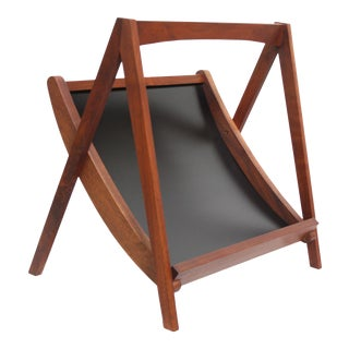 Sculptural Danish Modern Walnut Magazine Rack