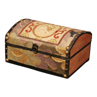 Decorative Bombe Box With 18th Century Needlepoint Tapestry by J. Lamy For Sale