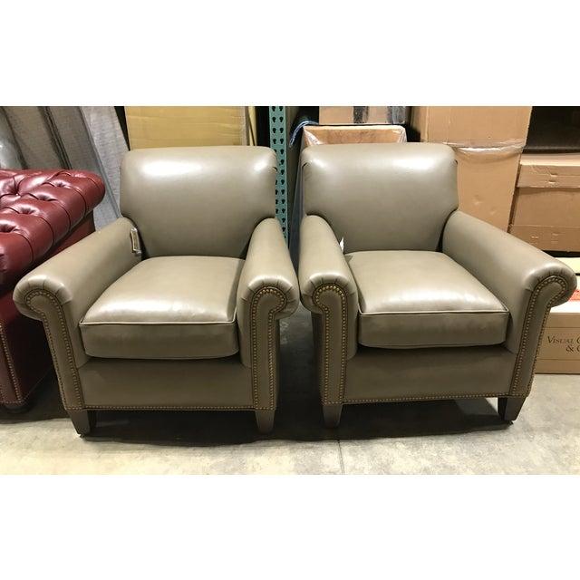Hancock & Moore Leather Studio Chairs & Ottoman - Set of 3 - Image 3 of 7