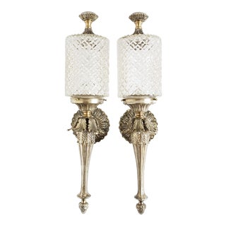 Vintage Spanish Brass and Glass Wall Sconces For Sale