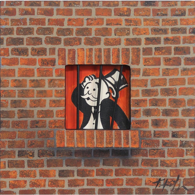 """Original Painting on Canvas by Kathleen Keifer """"Uncle Penny Bags Social Distancing"""" For Sale"""