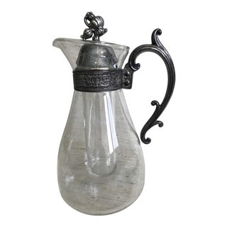 Vintage Glass & Silver Plate Pitcher For Sale