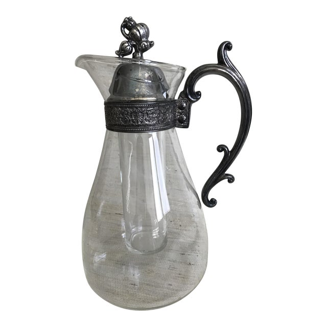 Vintage Glass & Silver Plate Pitcher - Image 1 of 6
