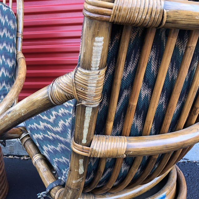 Green 1960s Anglo-Indian Rattan Swivel Lounge Chairs - a Pair For Sale - Image 8 of 13