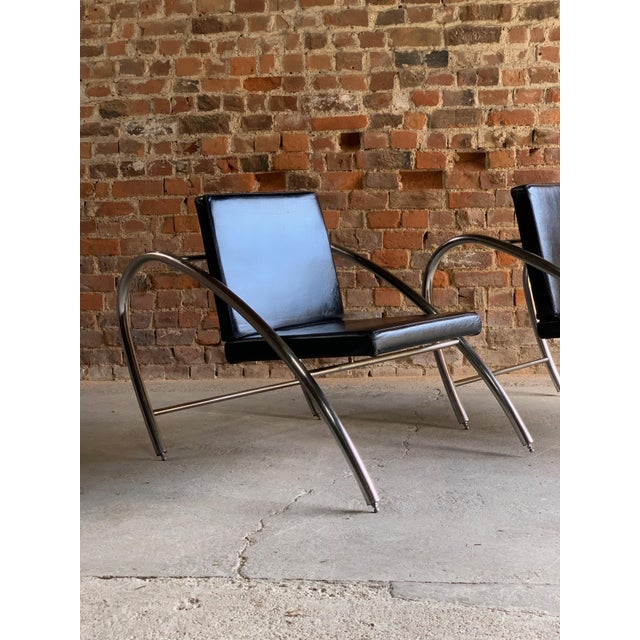 Mid-Century Modern Moreno Chrome & Leather Lounge Chairs by Francois Scali & Alain Domingo for Nemo - A Pair For Sale - Image 3 of 12