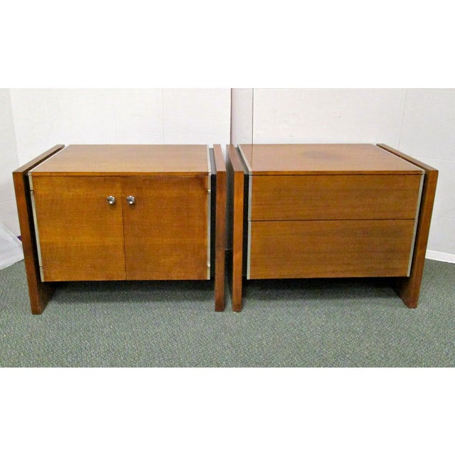 John Stuart Walnut & Steel Nightstands - A Pair - Image 2 of 7