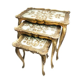 Vintage Italian Mid-Century Florentine Nesting Tables - Set of 3