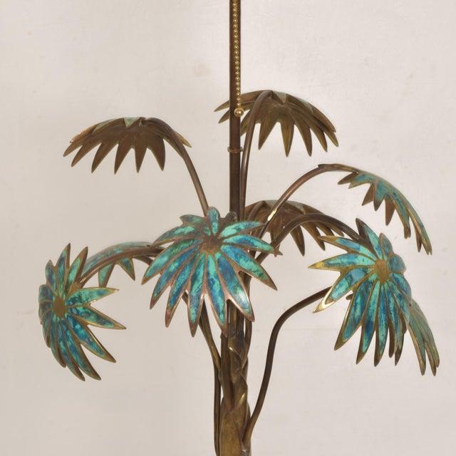 Bronze 1950s Pepe Mendoza Palm Tree Table Lamp in Bronze & Malachite, Mexico For Sale - Image 8 of 11